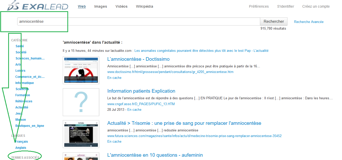 screen shot du moteur exalead
