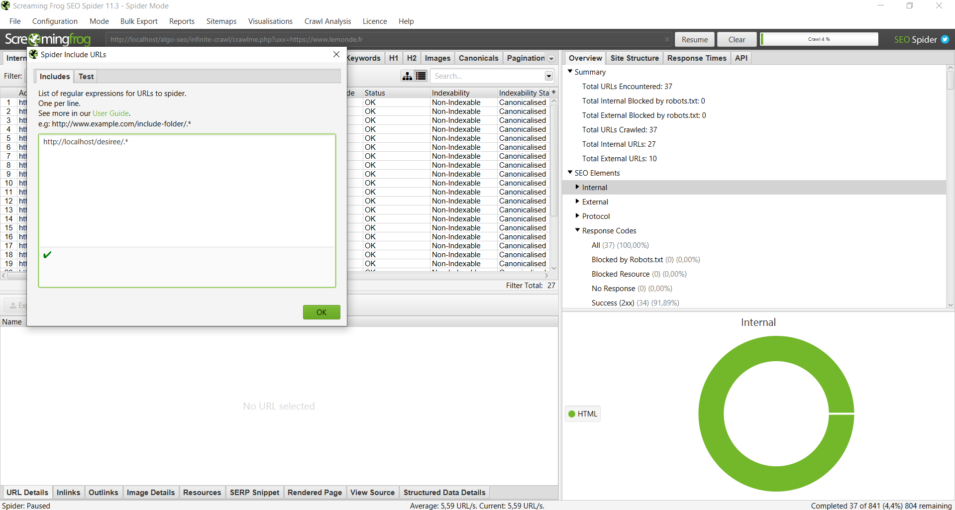configuration de screamingfrog